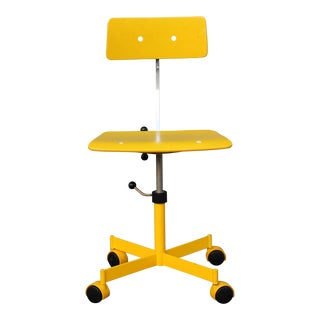 Mid Century Modern Beautiful Yellow Desk Chair For Sale
