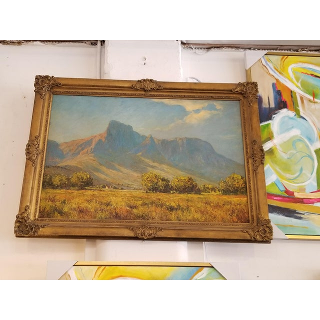 African Landscape Oil Painting in Gold Frame For Sale - Image 4 of 4