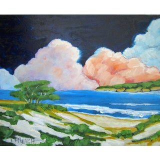 Carmel California Monterey Bay Clouds Landscape Oil Painting Lynne French Art For Sale