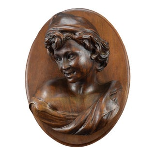 Late 19th Century The Laughing Neapolitan Carved Wood Wall Panel Medallion After Jb Carpeaux For Sale