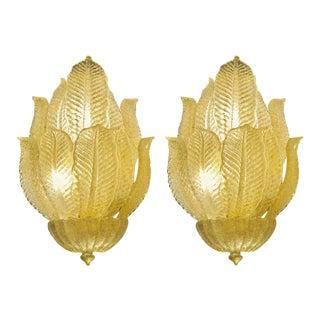 Mid Century Murano Glass Four Light Leaf Design Four Light Wall Sconces - a Pair For Sale