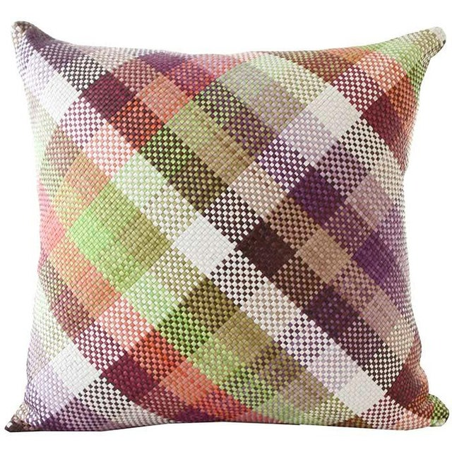 Lance Wovens Harlequin Lime Leather Pillow - Image 1 of 2