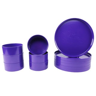 Purple Massimo Vignelli for Heller Dinnerware - Set of Six Plates + Six Bowls For Sale