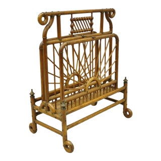 19th Century Victorian Antique Bentwood Stick and Ball Drop Side Magazine Rack For Sale