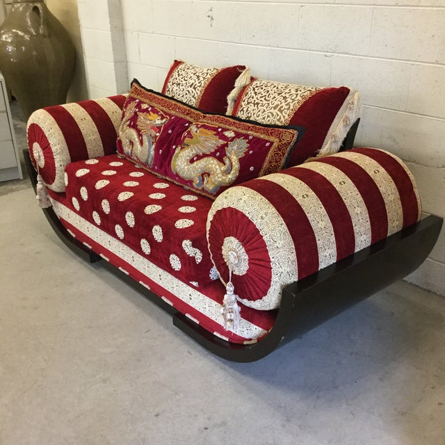 Amazing Moroccan style love seat. Oversized and a real statement. Near perfect condition. Upholstery and cushions are like...