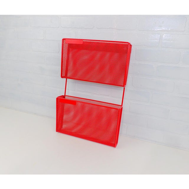 Vintage Red Metal Wall Mounted Organizer Mail Sorter Letter Holder - Image 8 of 9
