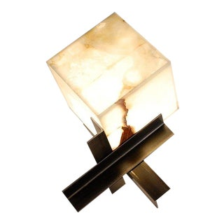 Cubyx' Sculptural Onyx and Blackened Steel Lamp For Sale