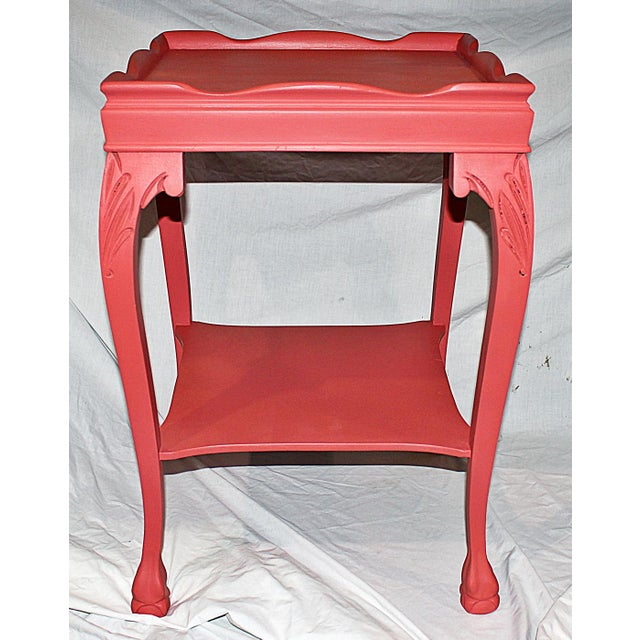 Coral-Painted Mahogany Side Table - Image 3 of 5
