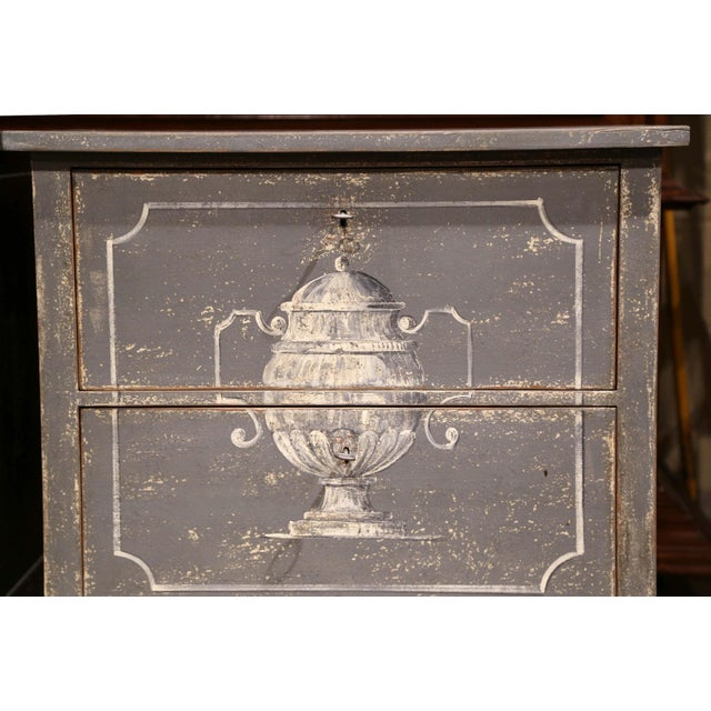 Early 20th Century Early 20th Century French Painted Nightstands or Commodes - a Pair For Sale - Image 5 of 11