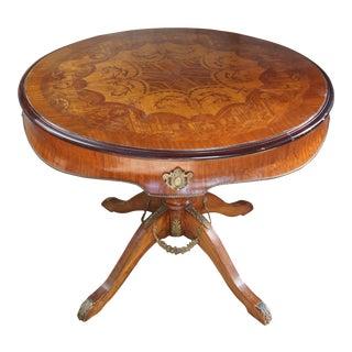 Antique Italian Walnut & Mahogany Center Table For Sale