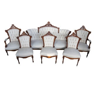 Antique Renaissance Revival Walnut Burl Parlor Set Settee Chairs - 6 Pc.