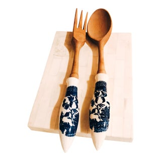 Vintage Wooden Spoon and Fork With Delft Porcelain Handles - Set of 2 For Sale