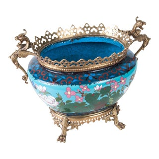 French Japonisme Ormolu-Mounted Japanese Cloisonné Cachepot For Sale