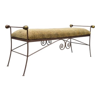 Early 21st Century Leopard Cheetah Print Wrought Iron Scrolling Metal Long Bench Seat For Sale