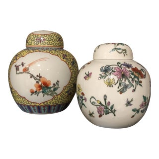 Pair of Floral Ginger Jars For Sale