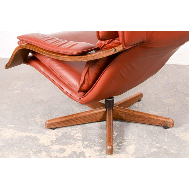 Animal Skin Majestic Mid-Century Design Scandinavian Swivel Relax Maroon Leather Lounge Chair, 1960s For Sale - Image 7 of 8