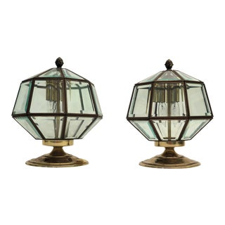 1970s Glass and Brass Outdoor Sconces - a Pair