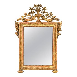 Louis XVI Painted and Parcel Giltwood Mirror With Original Plate For Sale