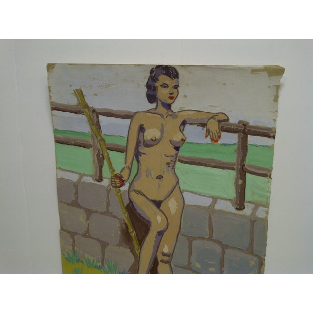 """This is an Original Painting On Paper, Titled """"Nude By The Wall"""" - Dated April 15, 1947 - By Tom Sturges Jr. Tom Sturges..."""