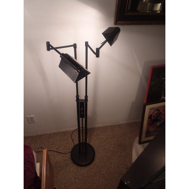 1980's Mid-Century Modern LIte Source Two Arm Floor Lamp For Sale - Image 9 of 9