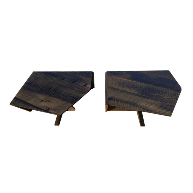 Modern Ebonized Oak Barnwood Coffee Tables - Pair For Sale - Image 11 of 11