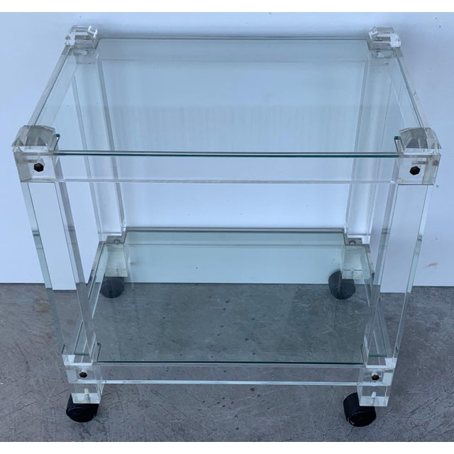 1940s French 1970s Plexiglass Lucite Drink Bar or Dessert Cart For Sale - Image 5 of 9