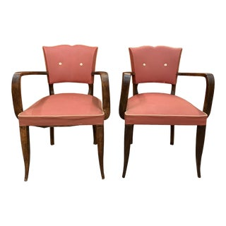 1940s Vintage French Art Deco Solid Mahogany Accent Chairs- a Pair For Sale