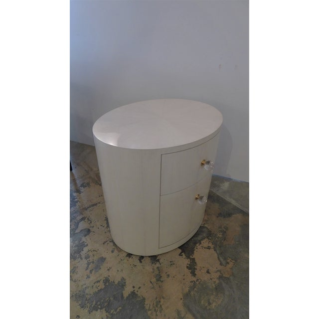 White Italian-Inspired 1970S Style Oval Nightstand For Sale - Image 8 of 8
