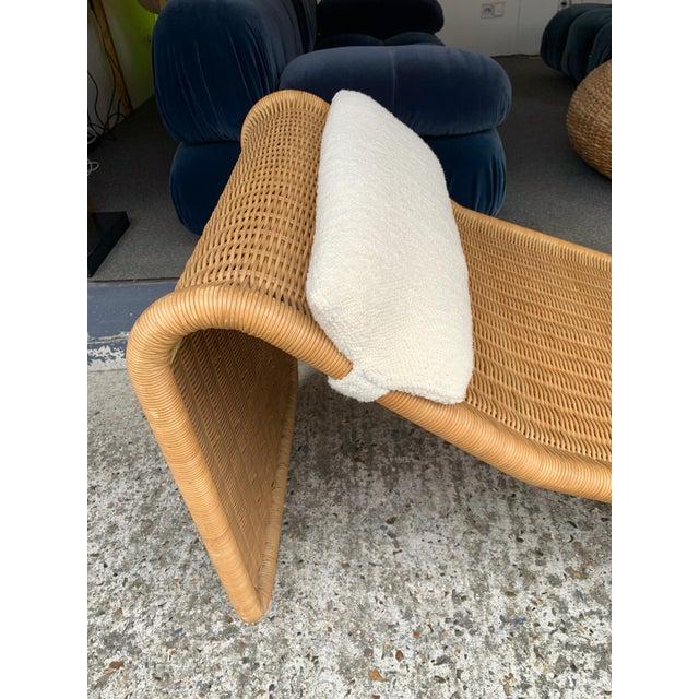 Tito Agnoli 1970s Italian Rattan Chaise Longue Lounger Chair P3 by Tito Agnoli For Sale - Image 4 of 11