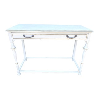 Vintage White English Style Console Table For Sale