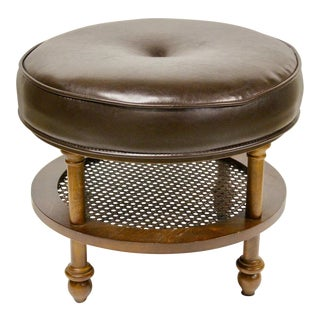1960s Vintage Cane & Faux Leather Upholstered Stool