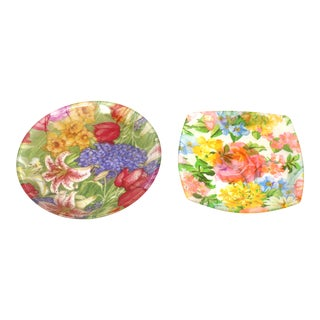 Vintage Botanical Decoupage Glass Plates - a Pair For Sale