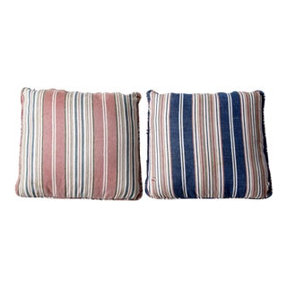 Vintage Striped Pillow Covers - A Pair For Sale