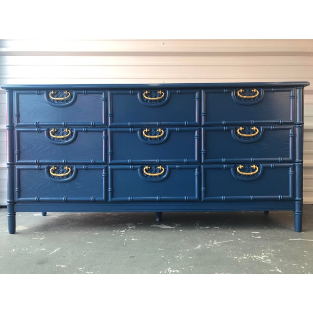 Boho Chic Faux Bamboo Newly Lacquered Blue Dresser For Sale - Image 3 of 12