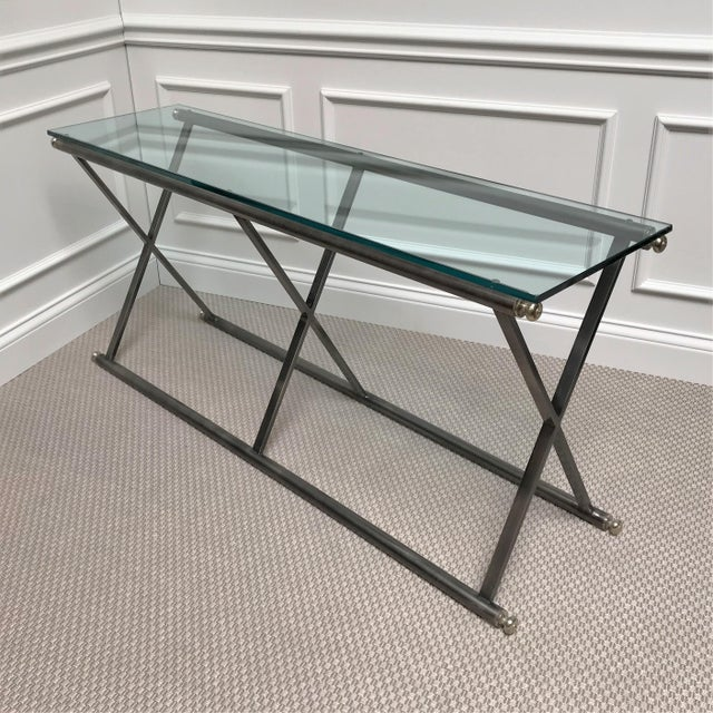 Post Modern Classicism Brushed Steel & Glass Console Table For Sale - Image 9 of 9