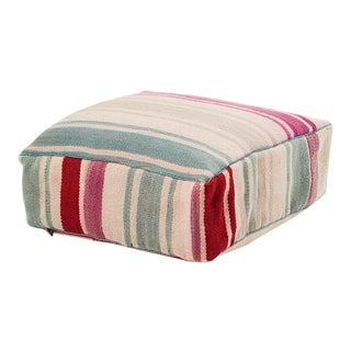 Moroccan Pink and Blue Striped Kilim Pouf