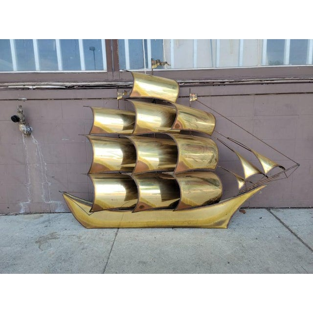 Brass 1970s Vintage Brass Ship Sculpture For Sale - Image 8 of 13