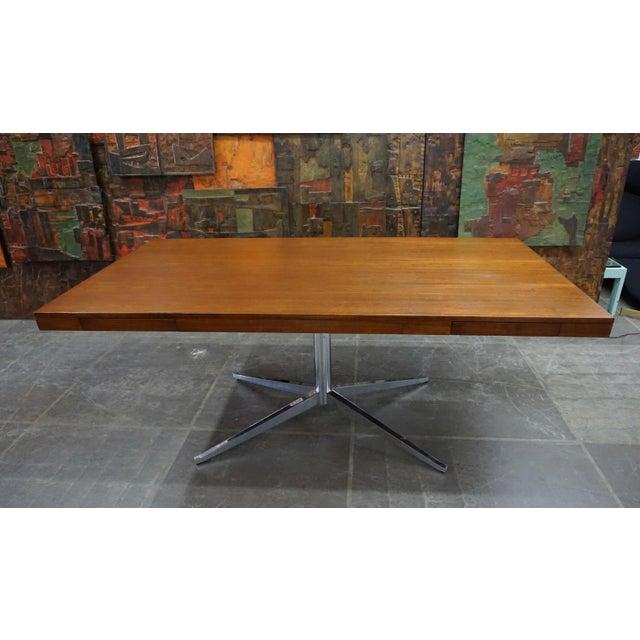 Metal Florence Knoll Walnut on Chrome Base Partner Desk For Sale - Image 7 of 7