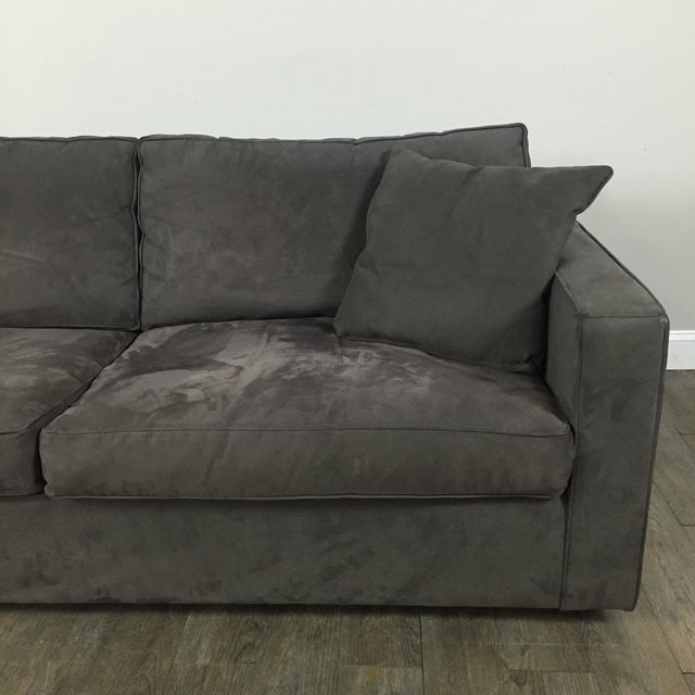 Room & Board Charcoal Suede Sofa - Image 5 of 11