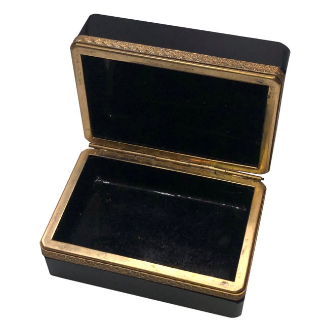 French Antique 19th Century French Black Opaline Glass Casket Box For Sale - Image 3 of 7