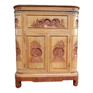 Hand-Carved Asian Dry Bar by George Zee 1960's For Sale
