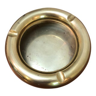 Vintage Heavy Solid Brass Ashtray For Sale