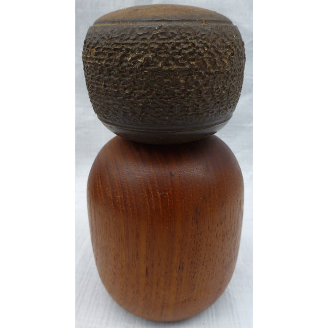 Danish Modern Teak & Ceramic Salt & Pepper Shakers - Image 5 of 6