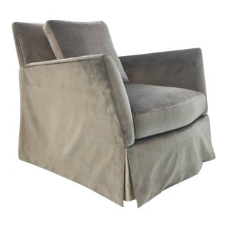 Caracole Modern Fair and Square Gray Velvet Skirted Swivel Club Chair For Sale