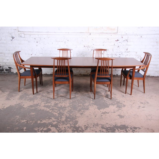 Kipp Stewart for Calvin Mid-Century Modern Walnut and Rosewood Dining Set, Newly Restored For Sale - Image 13 of 13