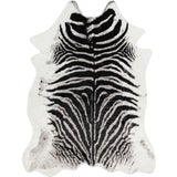 "Image of Erin Gates by Momeni Acadia Zebra Black Faux Hide Area Rug - 5'3"" X 7'10"" For Sale"
