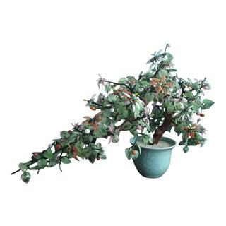 Late 20th Century Large Jade Bonsai Tree in Mint Green Celadon Pot For Sale