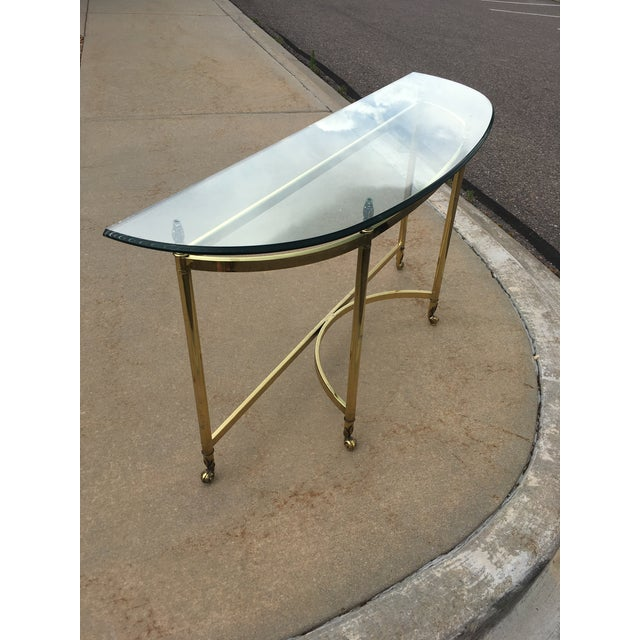 Brass Mid-Century Labarge Brass & Glass Demi-Lune Console Table For Sale - Image 8 of 13