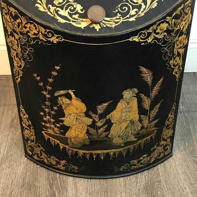 Pair of Antique Chinoiserie Tole Floor Model Tea Canisters by Henry Thoemner For Sale - Image 10 of 13