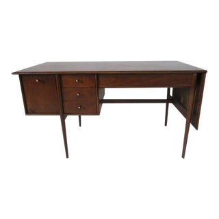 Drexel Walnut Declaration Drop Leave Desk by Barney Flagg